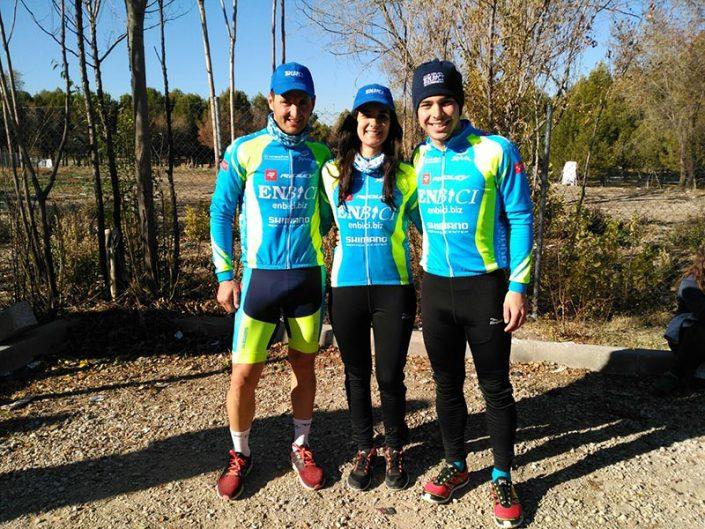 Nuestros tres campeones en el Podio del Ciclocross Coslada 2017